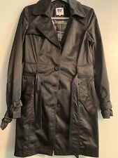 European Designer Marx Women Black Satin Trench Coat Size S