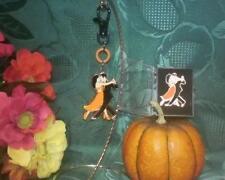 """Unique Ballroom Dance Fall Gift Duo / Pin & Clip Chain - """"Autumn Tango""""  Orange"""