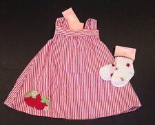 NWT Gymboree Little Strawberry 0-3 Months Red Seersucker Stripe Dress & Socks