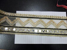 Espejo de Oro asiático Encaje Oro Indio Boda Apliques De Cristal De Cinta traje de la danza