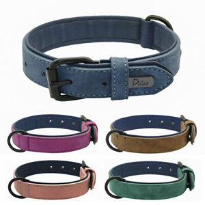 Soft Leather Dog Collar Padded for Small Large Dogs Pink Blue Brown Purple Green