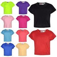 Girls Top Kids Plain Color Stylish Fahsion Trendy T Shirt Crop Top 5-13 Years