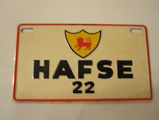 Vintage HAFSE 22 Italy Military Cereal License Plate for Bicycle Pedal Car