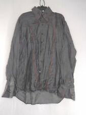 Angelino Mens Size XXL Color Dark Grey (Missing Tags) Red Trim Button Up Shirt