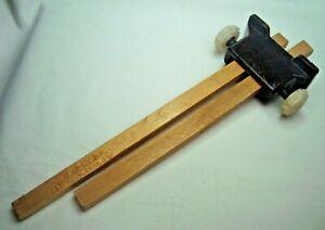 Vintage rare wooden carpenter dual scribe marking tool gauge with bakelite stem