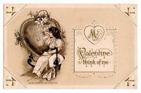1913 Vintage John Winsch Schmucker Girl & Cupid Valentines Antique Postcard RARE