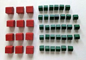 MONOPOLY Deluxe Edition (1998) Replacemt - Wooden12 Red HOTELS & 33 Green Houses