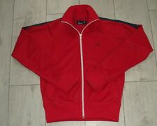 Fred Perry UK10 EU38 Red BlueTracksuit Jacket Womens Zipped Track Ladies