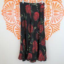 J. Peterman 100% Silk Black Skirt with Red Roses 12