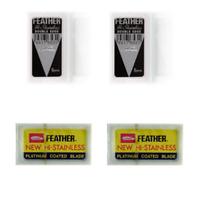 30 Feather Stainless platinum razor blades (Blk & Ylw) Sealed Packs! USA Seller!