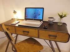 Industrial Vintage 3 Drawer Metal Wood Sideboard Office Desk Console Hall Table