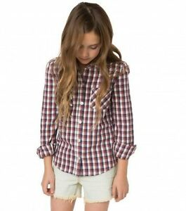 O'Neill Girls Tahoe Flannel White Shirts & T- Shirts  Long Sleeve M 8-10