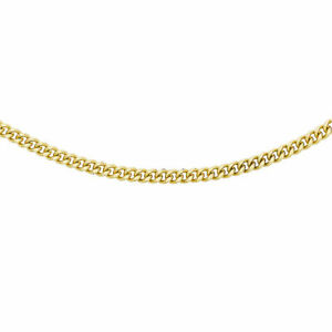"""TJC 9ct Yellow Gold Curb Chain Necklace for Women Men Sleek Lightweight Size 24"""""""