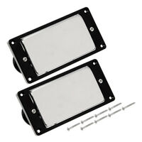 Chrome Metal Electric Guitar Humbucker Pickup Set Sealed Double Coil Black Frame
