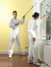 PACK OF 2 COVERALL DISPOSABLE WHITE OVERALL PROTECTIVE PAINTING DECORATING SUIT