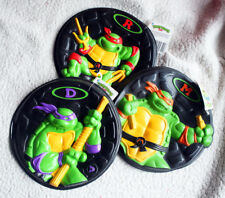 Lot Tmnt Goops: Donatello, Raphael & Michelangelo (Frisbee Disc) Hasbro 1990! Bn