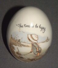 """Holly Hobbie Porcelain Egg """"The Time to Be Happy is Now"""" 3"""""""