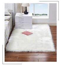 Sheepskin Faux Fur Rug Plain Soft Chair Seat Cover Non Slip Fluffy Carpet Mats