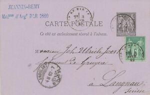 """SCHWEIZ BAHNPOST 1882/9 zehn 10C französische GA-Postkarten alle """"AMBULANT""""-Stpl"""