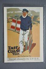 R&L Modern Postcard: LNER East Coast Types, Deck Chair Man, Advert Poster