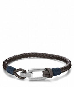 Tommy Hilfiger Mens Brown Braided Leather Bracelet Brand New Boxed With Tags