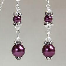 Burgundy pearls crystals vintage silver long drop wedding bridesmaid earrings