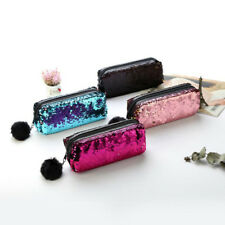 Women Mermaid Sequin Glitter Cosmetic Bag Pencil Box Coin Purse Makeup Case
