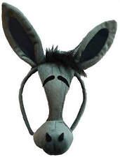 LONG GREY DONKEY EARS FACE/NOSE SHREK BOOK DAY FANCY DRESS