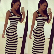 Women Sleeveless Vest Strips Casual Long Full Dress Maxi Sundress Party Beach