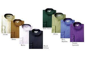 Men's Classy Mandarin Collar hidden button Dress Shirt Many Colors SG 01