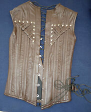 brown leather steel boned corset over bust rivets  14 lace back Tv wow