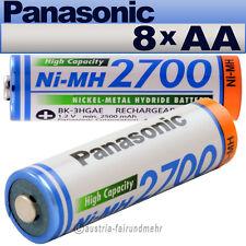 """""""8x Panasonic AKKU Mignon AA 2700mAh HR6  BK-3HGAE"""