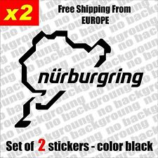 Set of 2 x Nurburgring Vinyl Sticker Aufkleber - Black/White, Die-Cut, car, JDM