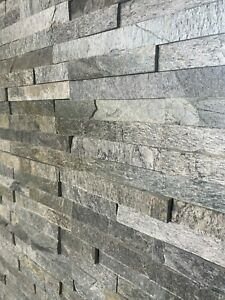 Silver Shine Split Face Natural Slate Wall Tiles Feature Walls Indoor Outdoor