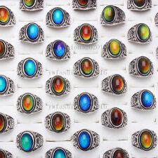 Wholesale Lots 10pcs Color Changing Silver Plated MAN Woman Mood Rings FREE