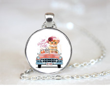 Kitty Car Rhinestone PENDANT NECKLACE Chain Glass Tibet Silver Jewellery