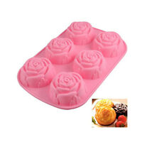 6 Rose Shape Cake Muffin Silicone Mold Mould Baking Ice Tray Random Color Send