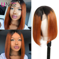 UNice Ombre Lace Front Short Bob Wigs Malaysian Straight Human Hair Wig 1b/30 US