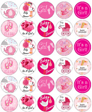 30 x Baby Shower Girl Cupcake Toppers Edible Wafer Paper Fairy Cake Toppers
