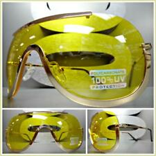 New OVERSIZED VINTAGE RETRO SHIELD Style SUN GLASSES Rose Gold Frame Yellow Lens
