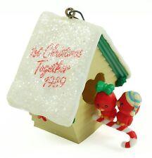 Vintage Lovebirds First Birdhouse Christmas Ornament Holiday Decoration w/Box