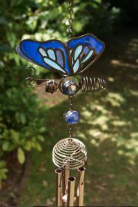 Purple Pink Blue Butterfly Sun Catcher glass Wind Chime Hanging Home Garden zen