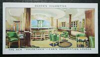 RMS MAURETANIA  Cunard White Star Liner  Observation Lounge  Vintage Card