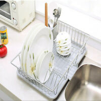 Stainless Steel Drain Dish Rack Tableware Cutlery Rack Kitchen Rack & Drain Pan