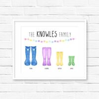 A4 Family Welly Print! Personalised Wellies Print! Family Print!