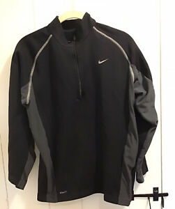 Nike Fit Therma Black/Gray  1/4 Zip Sweatshirt Size Large (14/16)