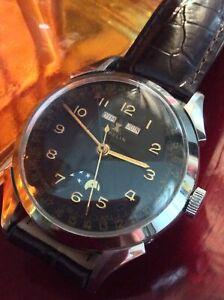 Gubelin Triple Date MP 1950 dial black - case 36,5 mm - Hand-Winding Wristwatch