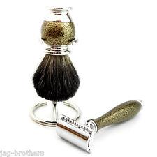 Classic Antique Style Black Badger Men's Shaving Brush& Double edge blade razor