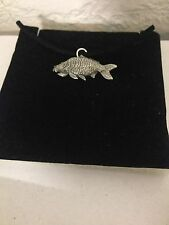 Mirror Carp PP-F12 English Pewter Emblem on a Black Cord Necklace Handmade
