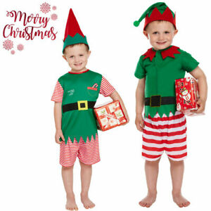 CHRISTMAS TODDLERS ELF COSTUME LITTLE SANTA HELPER XMAS FANCY DRESS OUTFIT 3YEAR